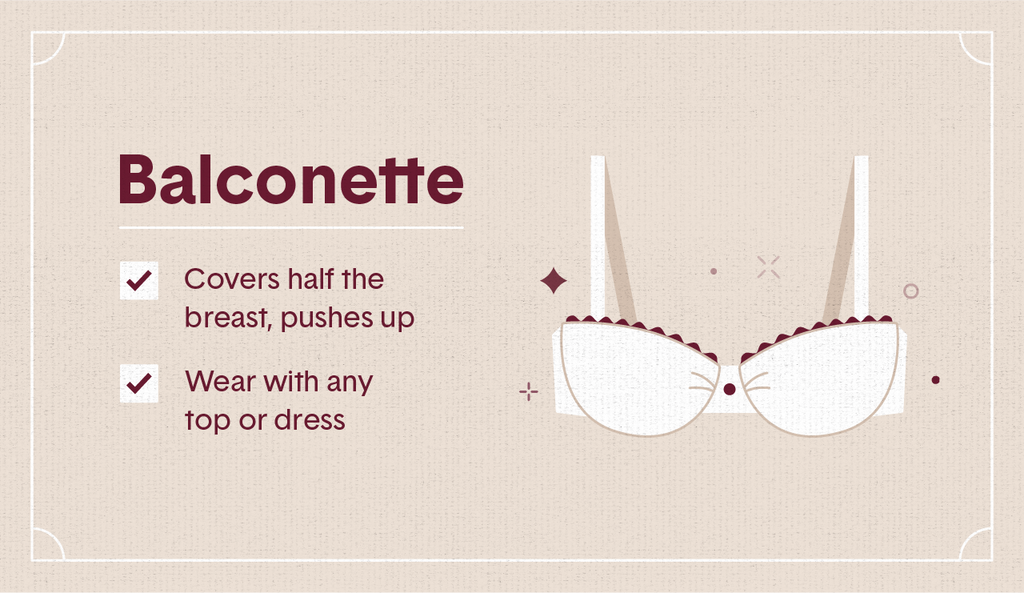 White illustration of a longline bra with maroon lace with surrounding decorative elements like stars and dots as well as two white check mark boxes