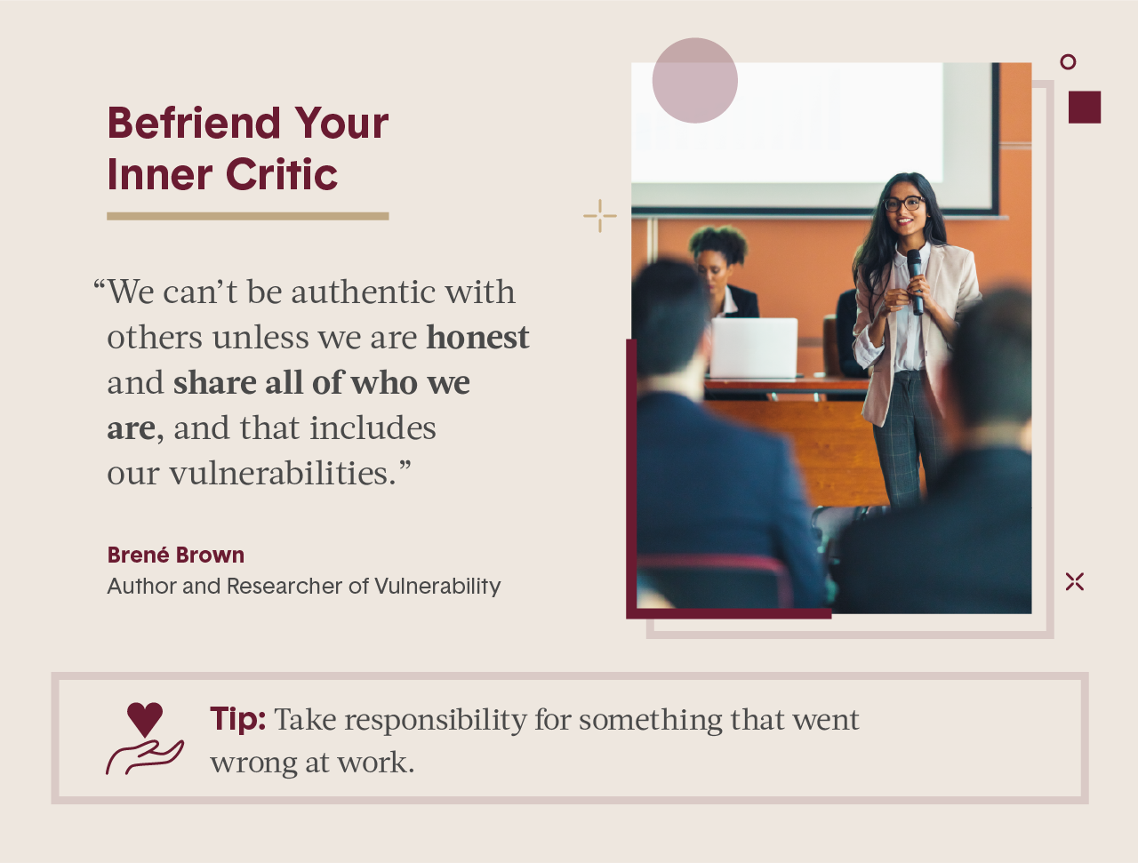 Pink square visual including quote from female expert in business and photo of women holding microphone and giving presentation