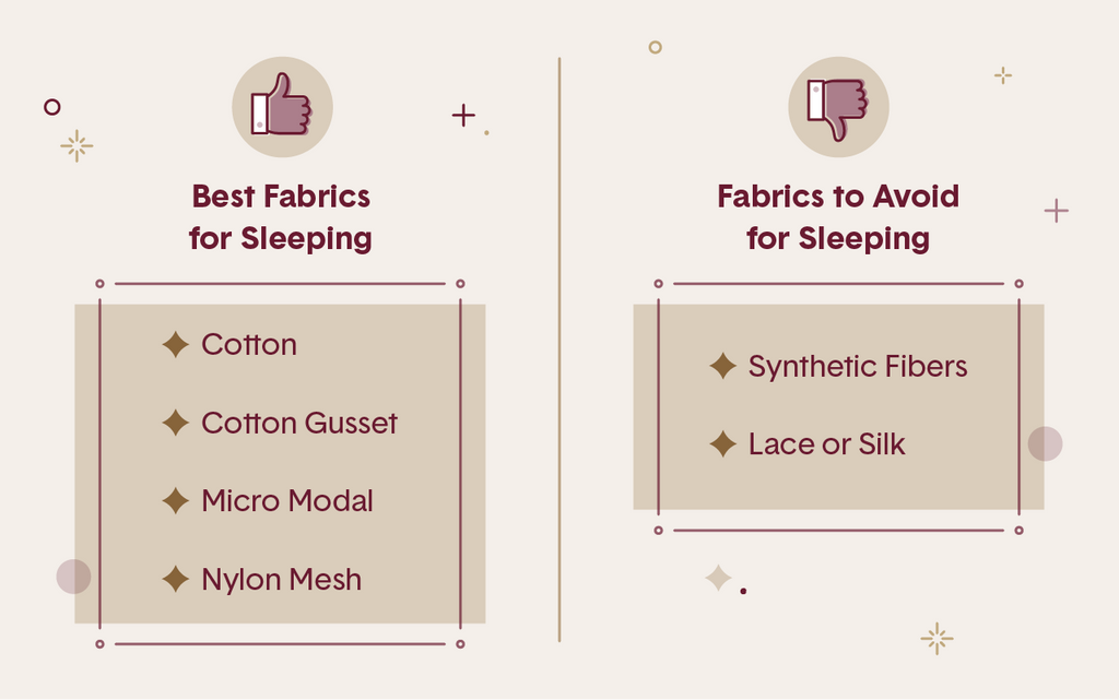Pink table showing the best and worst fabrics for sleeping in panties including cotton, micro modal, synthetic fibers and lace or silk