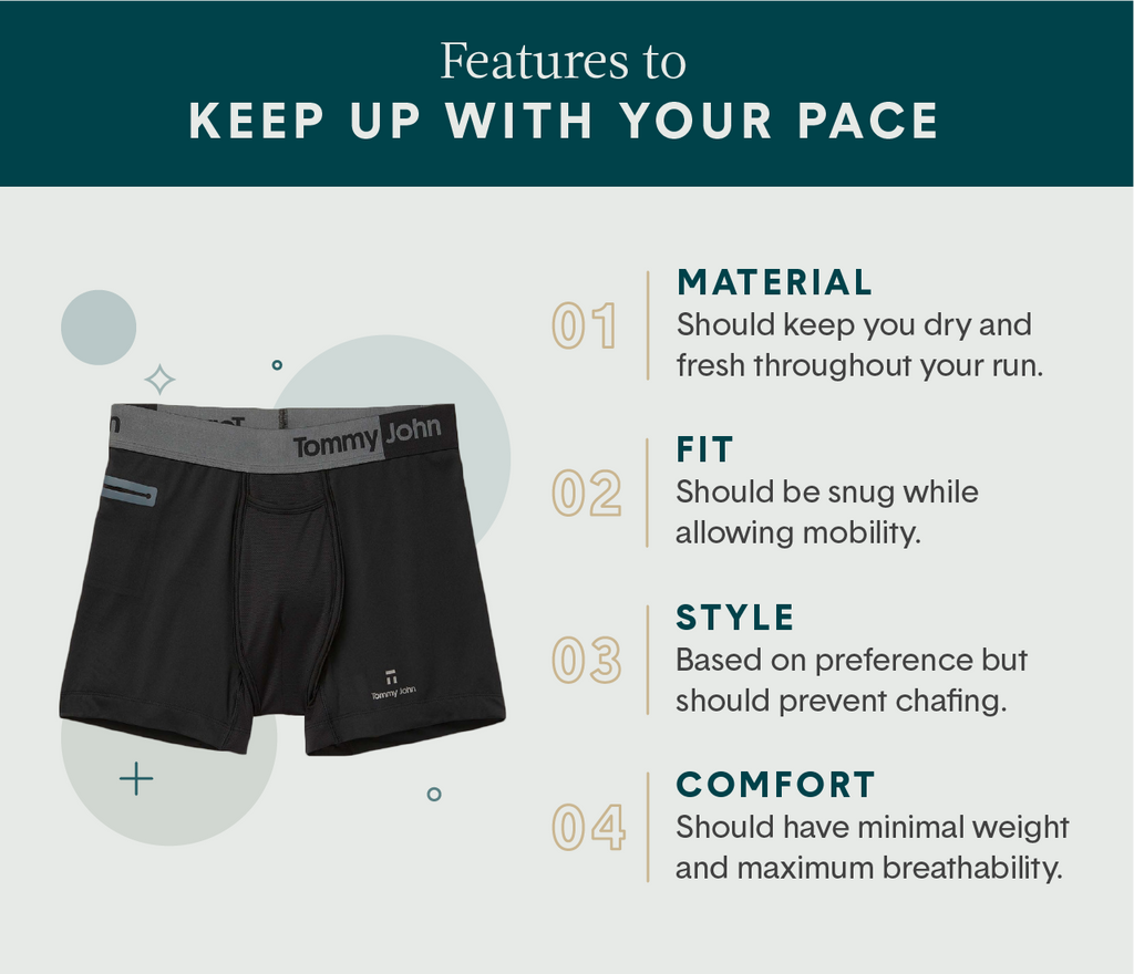 4 features that make up the best running underwear for men including material, fit, style and comfort