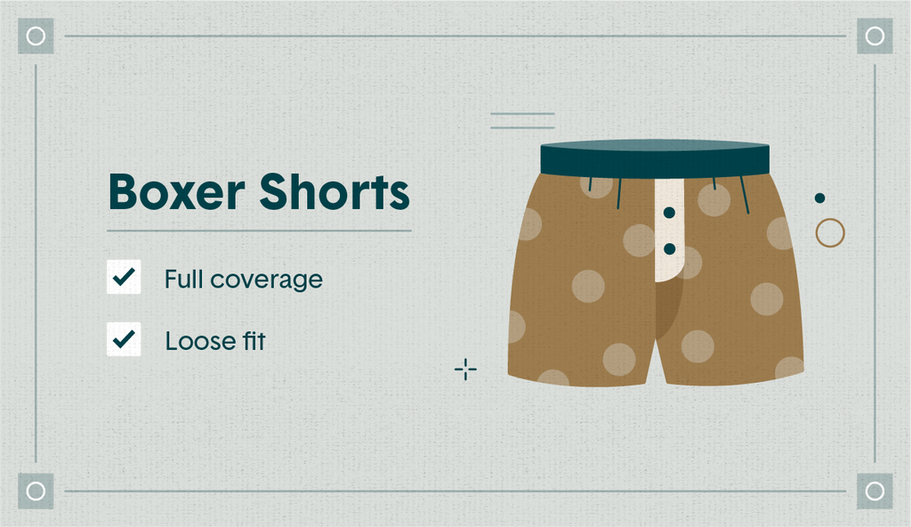 """Illustrated orange dotted boxer shorts with the qualities """"full coverage"""" and """"loose fit"""" listed"""
