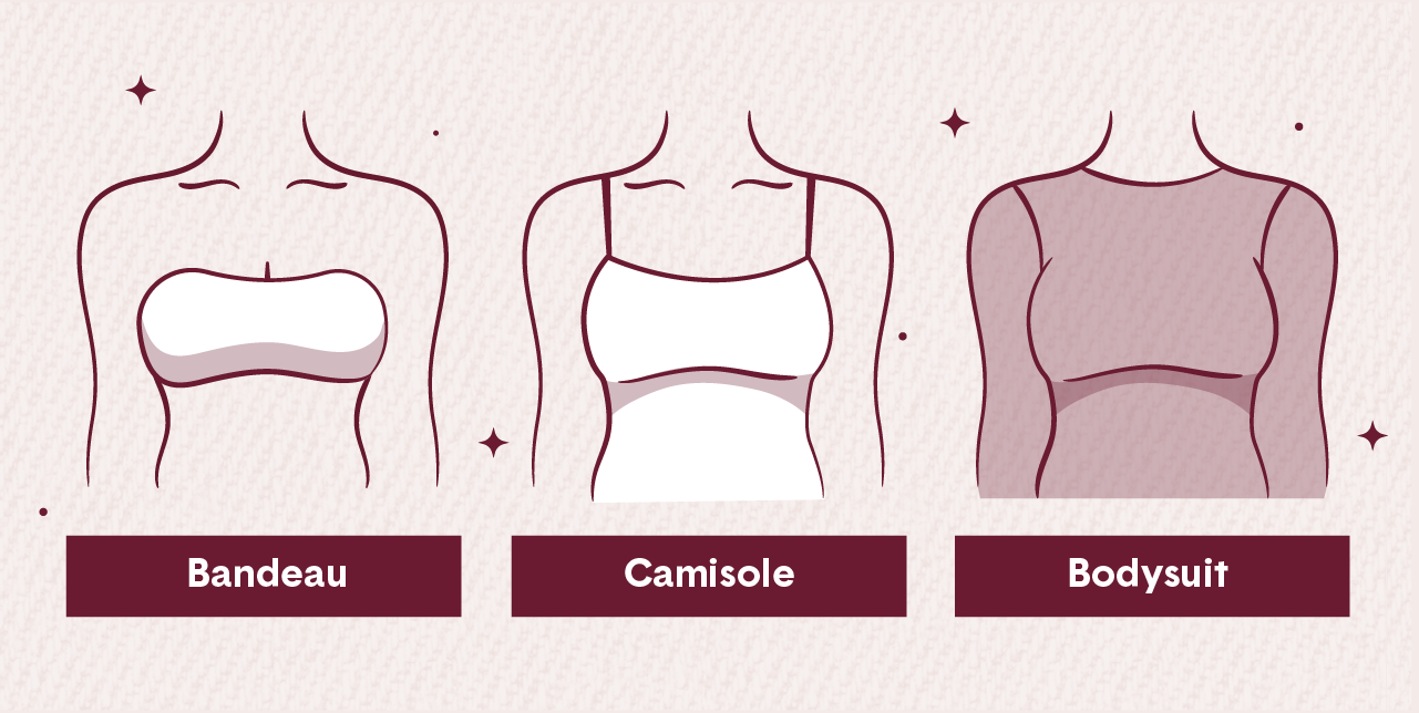 3 illustrations of different types of bra alternatives the bandeau camisole and bodysuit