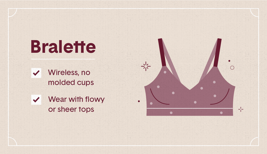 Light maroon illustration of a bralette bra with surrounding decorative elements like stars and dots as well as two white check mark boxes