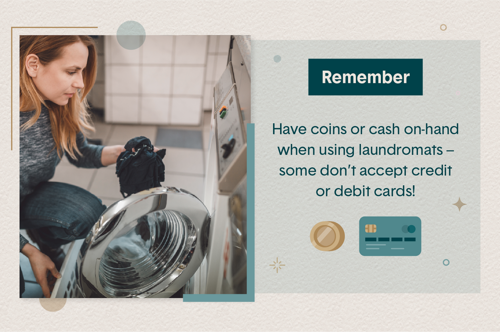 Image of a woman doing travel laundry at a laundromat with text reminding travelers to have cash or coins on-hand