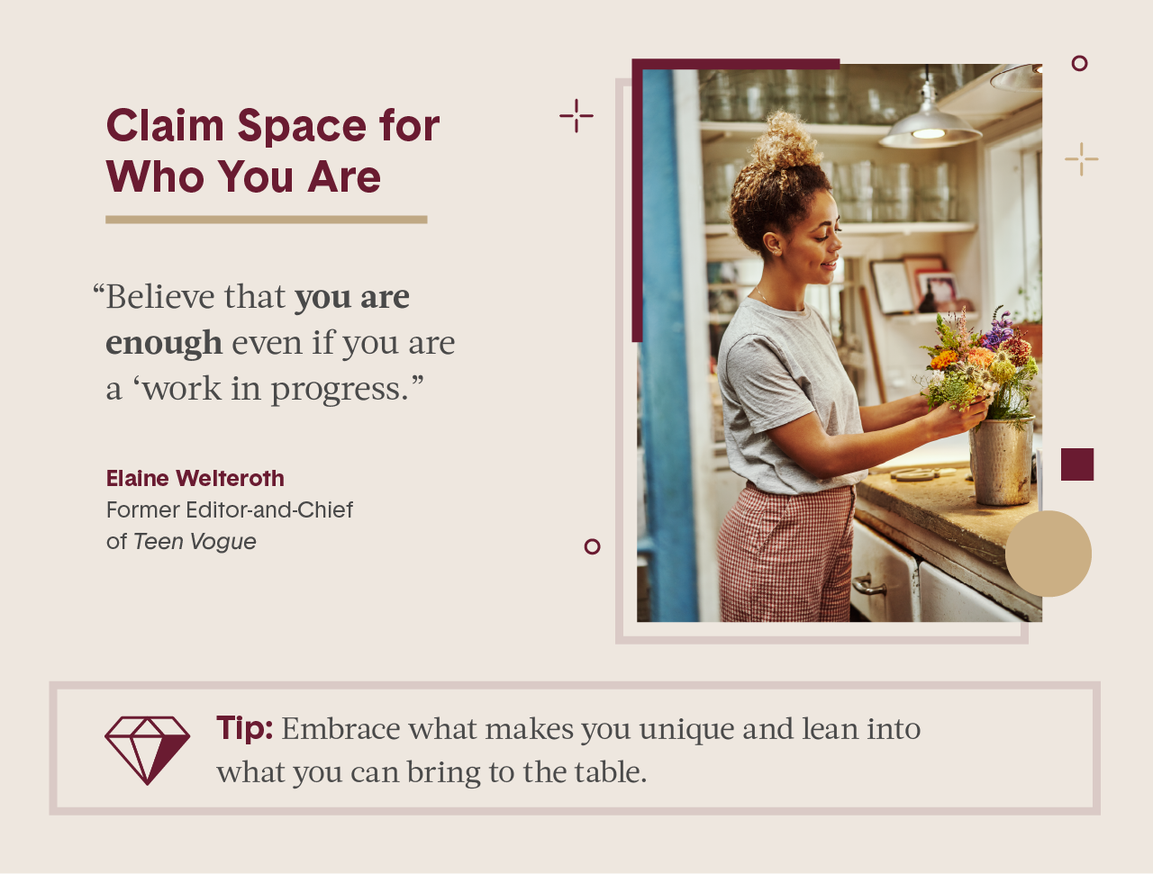 Pink square visual including quote from female expert in business and photo of women creating a flower bouquet in a nursery