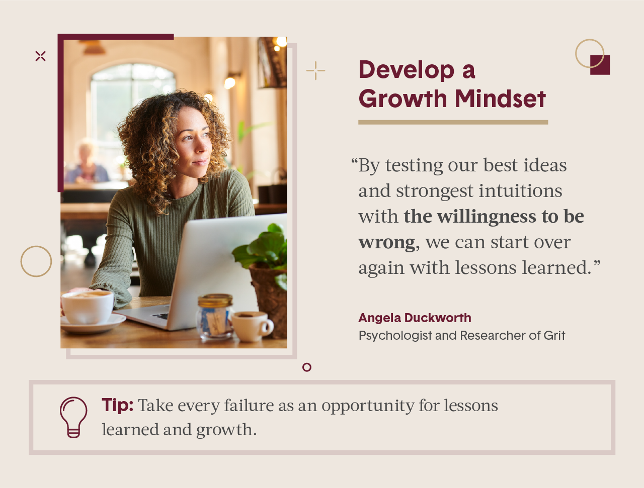 Pink square visual including quote from female expert in business and photo of women smiling and looking into the sunlight while at her computer