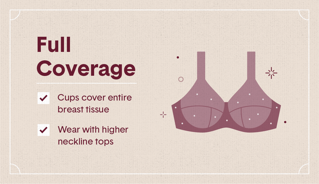 Light maroon illustration of a full coverage bra with white polka dots, surrounding decorative elements as well as two white check mark boxes