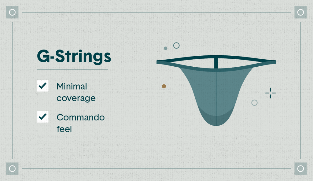 """Illustrated blue G-string with the qualities """"minimal coverage"""" and """"commando feel"""" listed"""