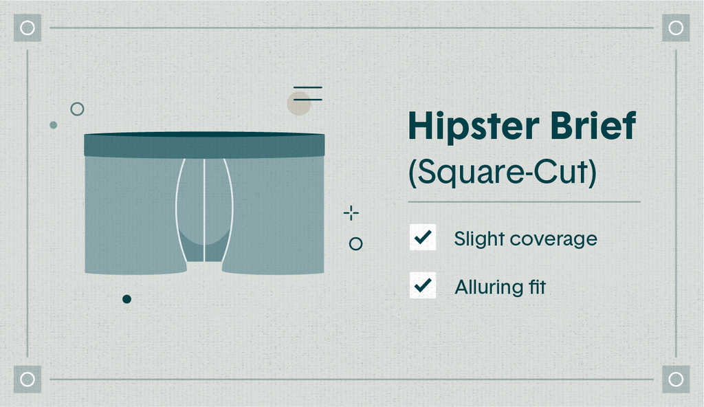 """Illustrated blue hipster brief with the qualities """"slight coverage"""" and """"alluring fit"""" listed"""