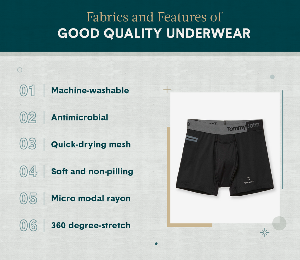 A black pair of Tommy John men's underwear representing the best fabric and features of good quality underwear
