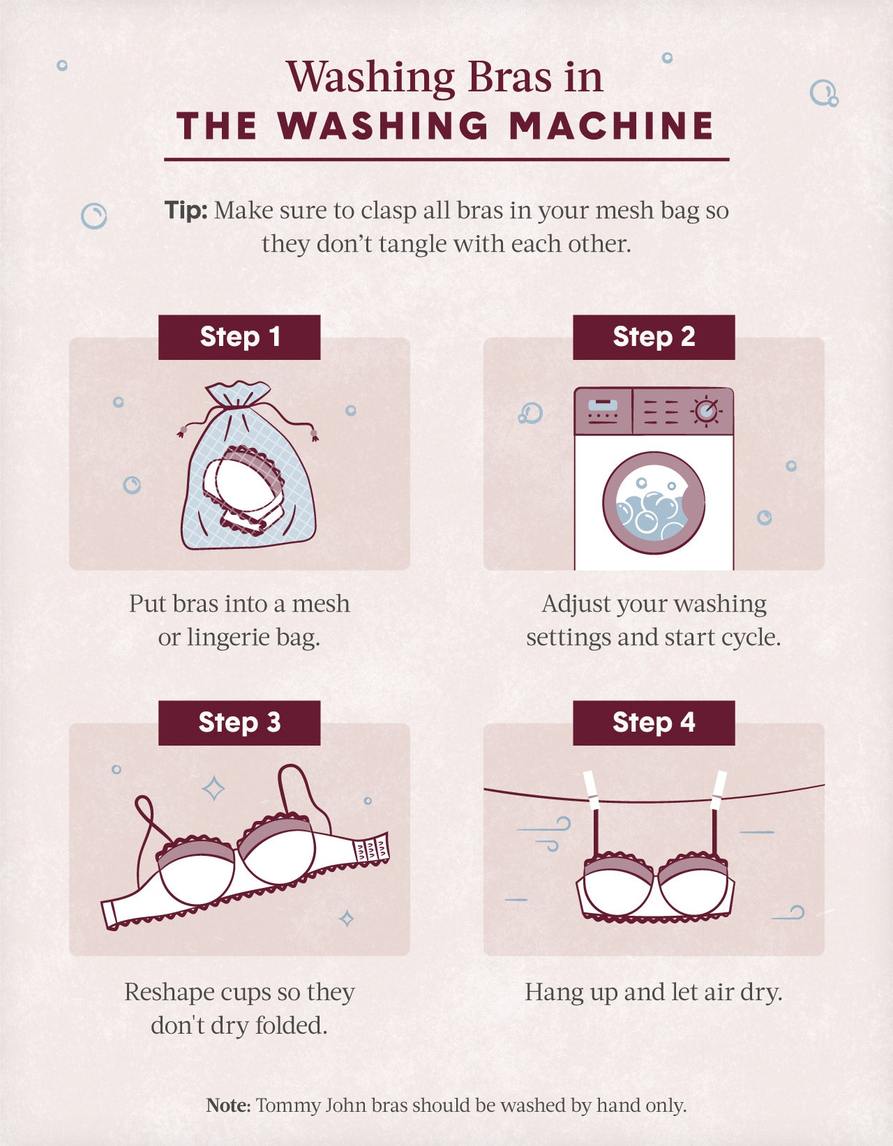 workflow instructing how to wash bras in a washing machine with illustrations of a washing machine a wash bag and bra