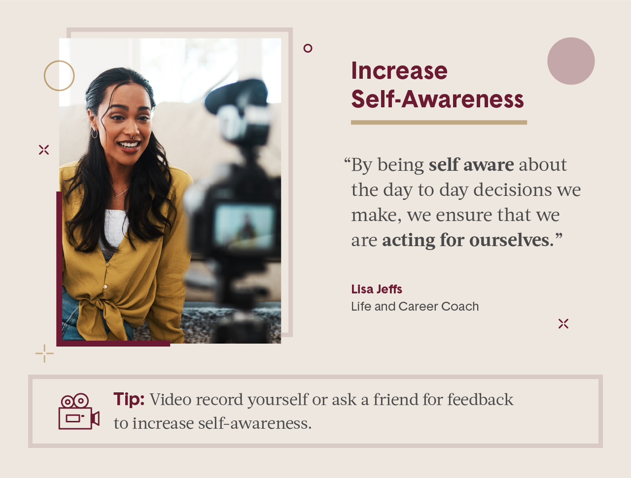 Pink square visual including quote from female expert in business and picture of women wearing a button down yellow shirt filming hersel