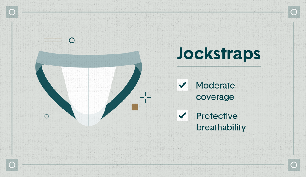 """Illustrated white jockstrap with the qualities """"moderate coverage"""" and """"protective breathability"""" listed"""