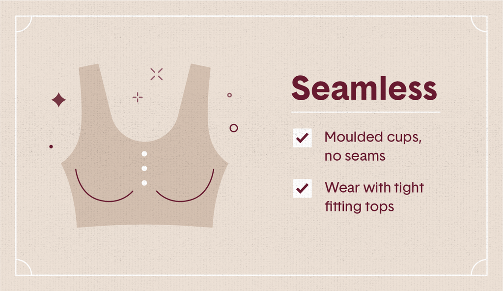 Beige illustration of a seamless bra with white buttons with surrounding decorative elements as well as two white check mark boxes
