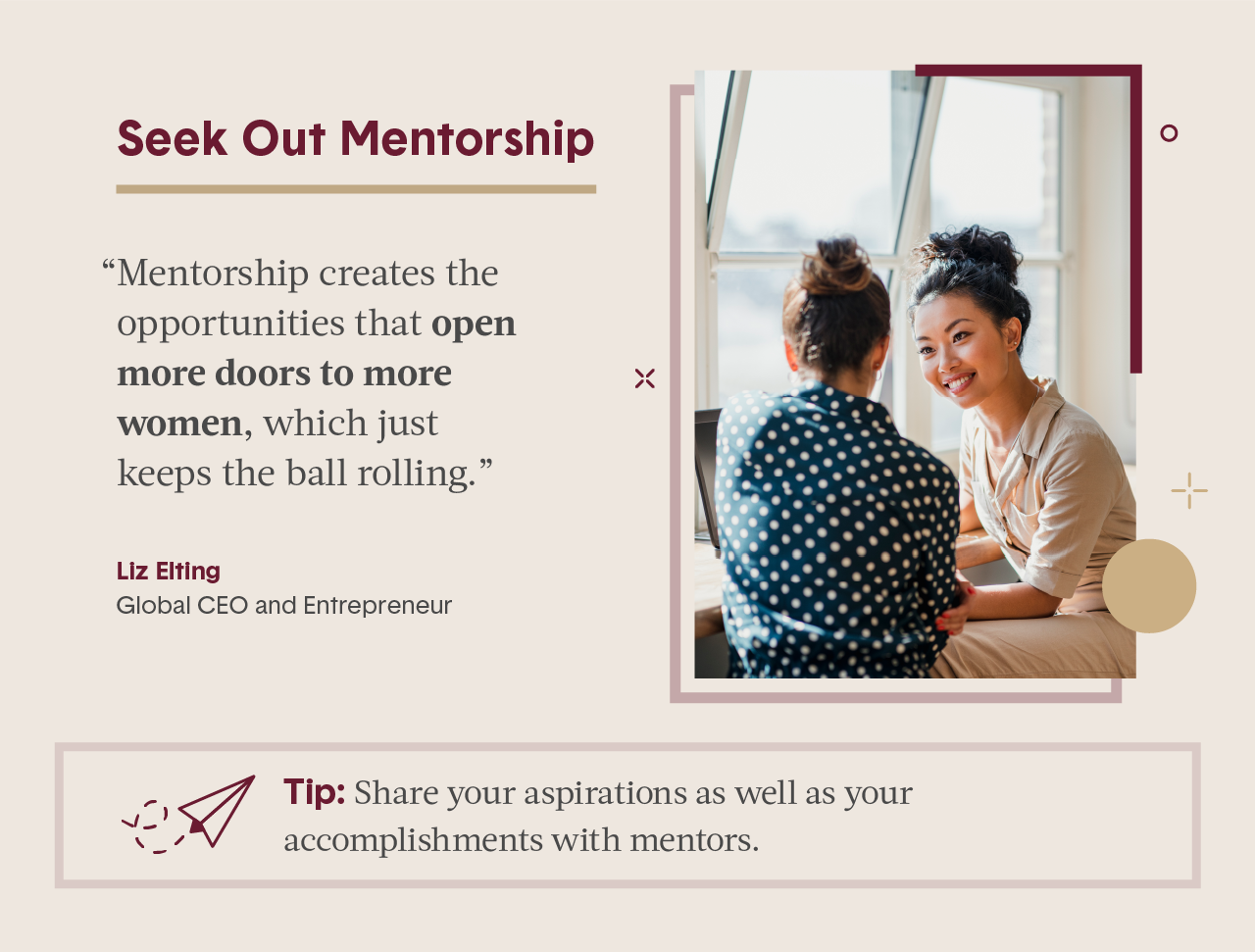 Pink square visual including quote from female expert in business and photo of two women smiling while sitting and talking