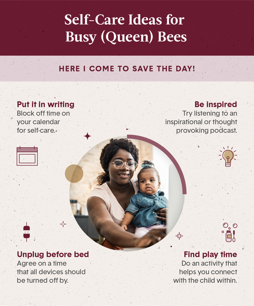 Light pink and maroon square visual with a photo of a mom holding her daughter and working on her computer