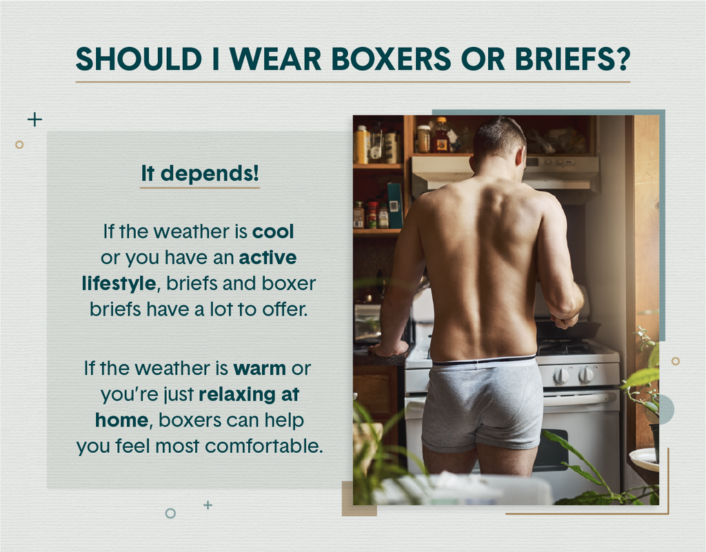 A man wearing only gray boxer briefs facing a stove as he cooks something in a skillet