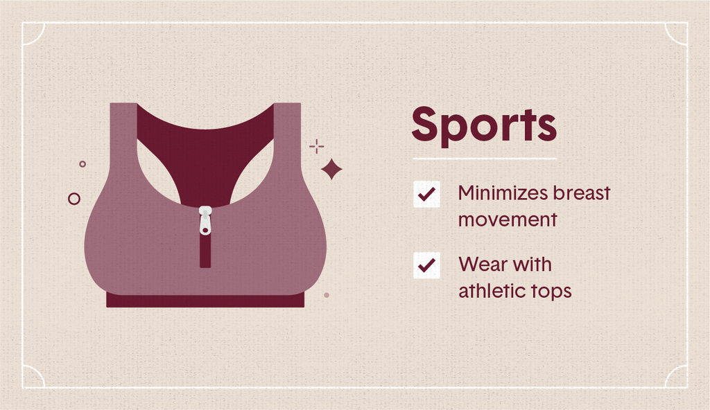 Maroon illustration of a sports bra with a middle zipper surrounding decorative elements as well as two white check mark boxes