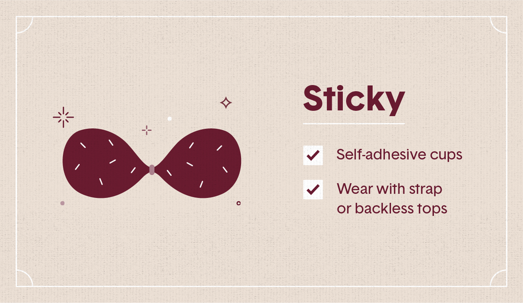 Maroon illustration of a sticky bra with surrounding decorative elements like stars and dots as well as two white check mark boxes
