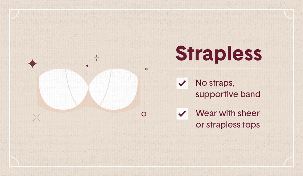 White illustration of a strapless bra with surrounding decorative elements like stars and dots as well as two white check mark boxes