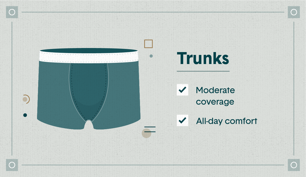 """Illustrated blue trunks with the qualities """"moderate coverage"""" and """"all-day comfort"""" listed"""