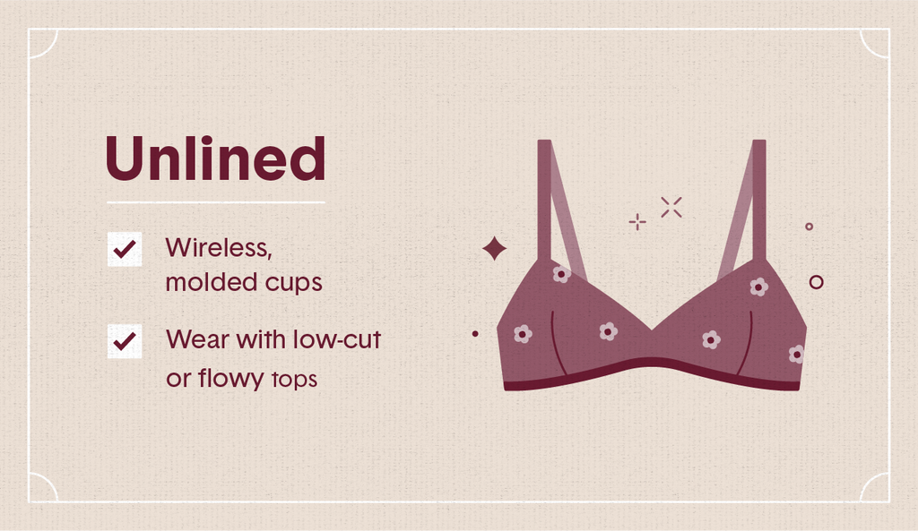 Light maroon illustration of a unlined bra covered in flowers with surrounding decorative elements like stars and dots as well as two white check mark boxes