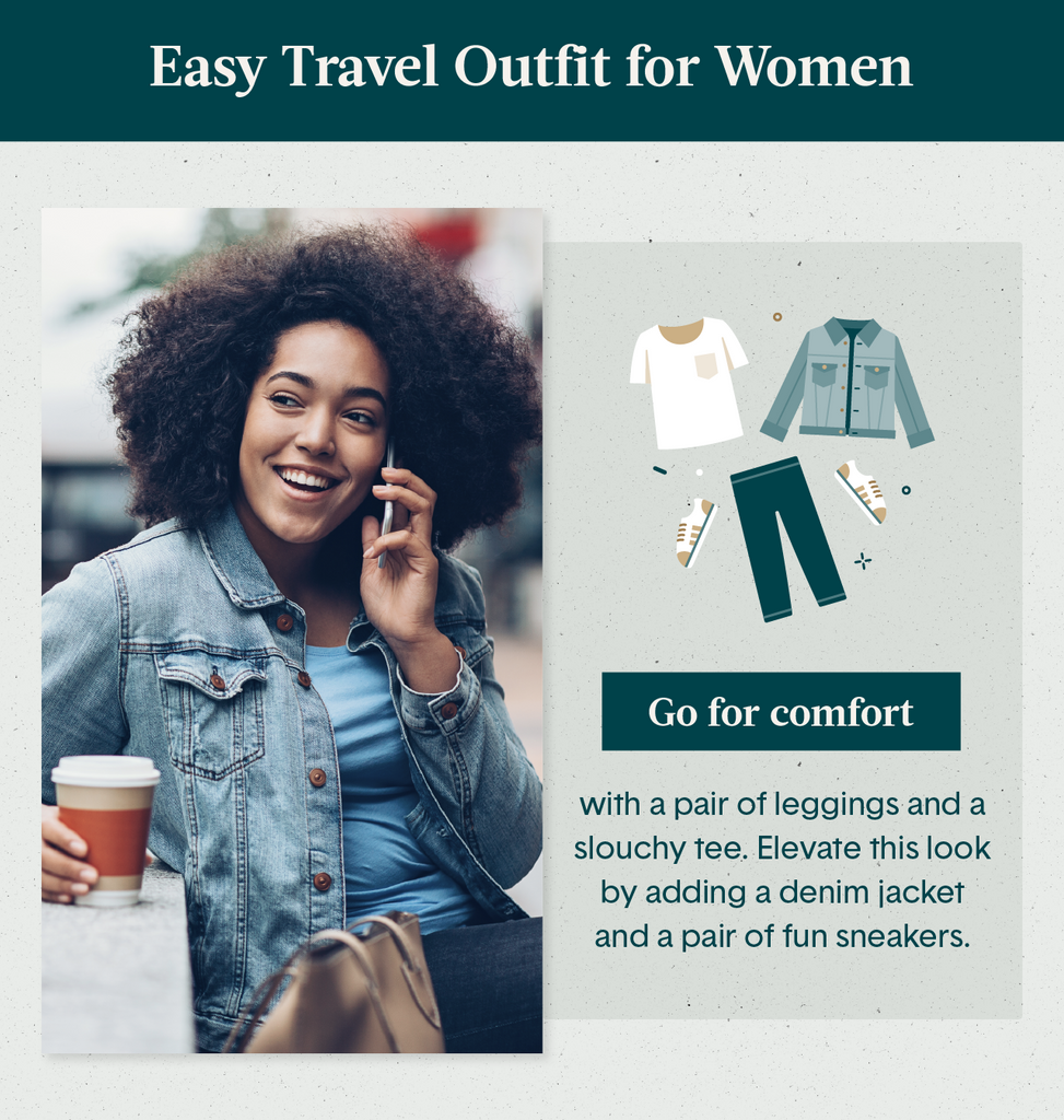 Black young women talking on the phone while drinking a coffee and modeling a perfect travel outfit for women of a denim jacket and T-shirt