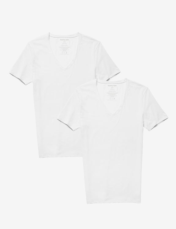 Cotton Basics Deep V-Neck Stay-Tucked Undershirt 2 Pack