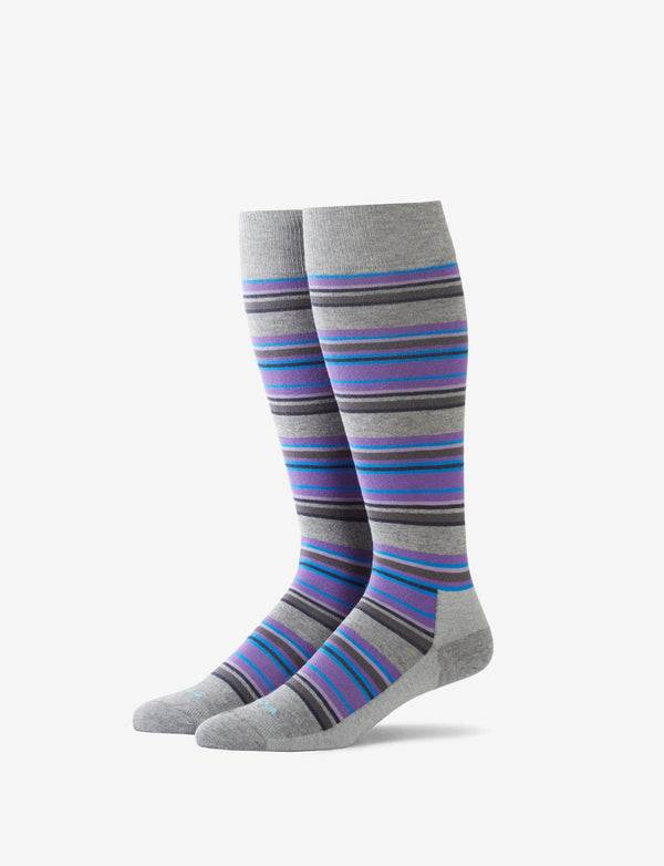 Micro Multi-Stripe Stay-Up Dress Sock