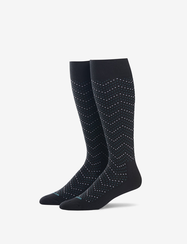 Chevron Dot Over The Calf Sock