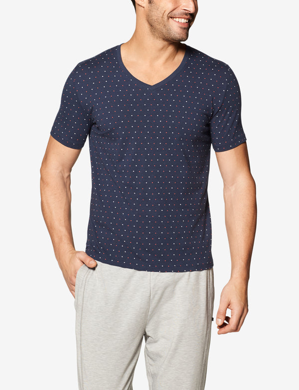 Second Skin Star Print V-Neck Tee