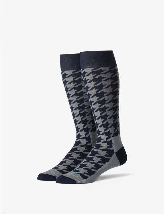 Houndstooth Stay-Up Dress Sock