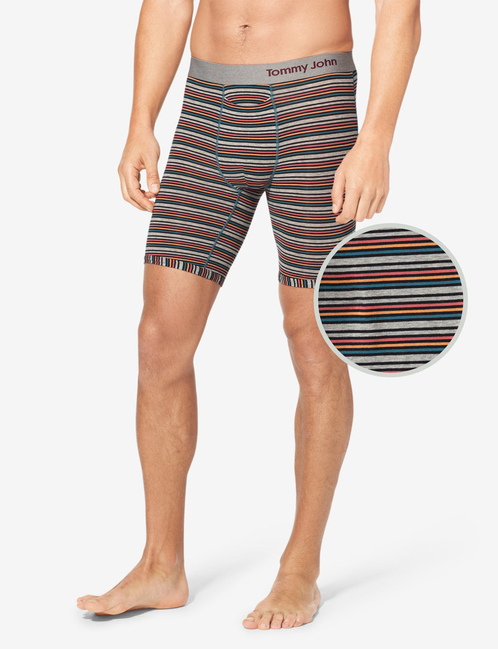 Cool Cotton Stripe Boxer Brief Details Image