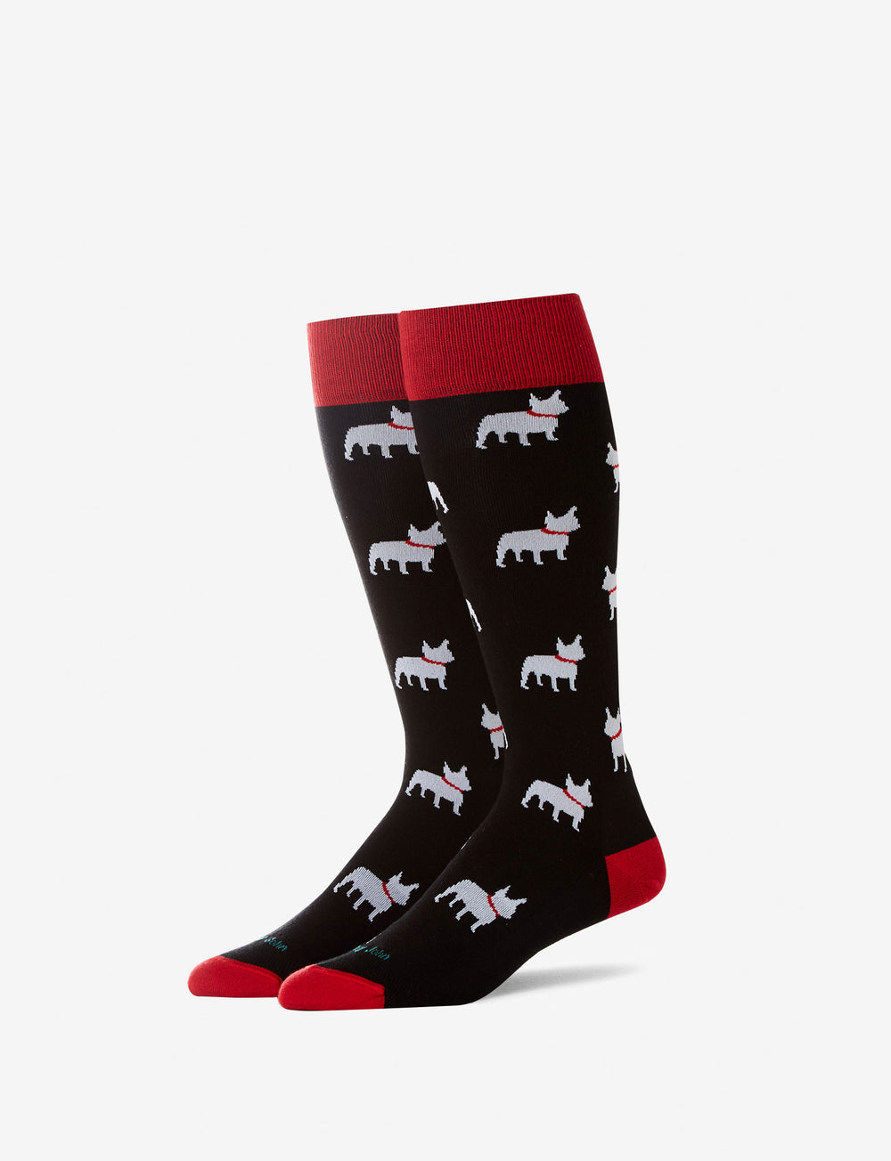 French Bulldog Stay Up Dress Sock Details Image