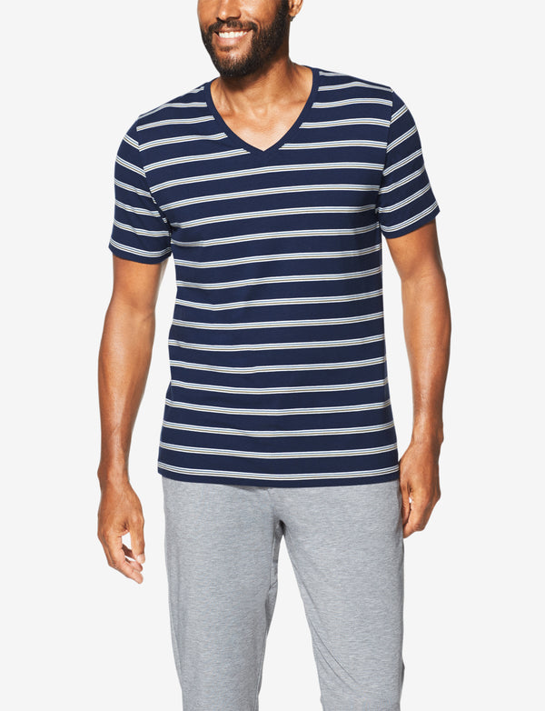 Second Skin Stripe V-Neck Tee