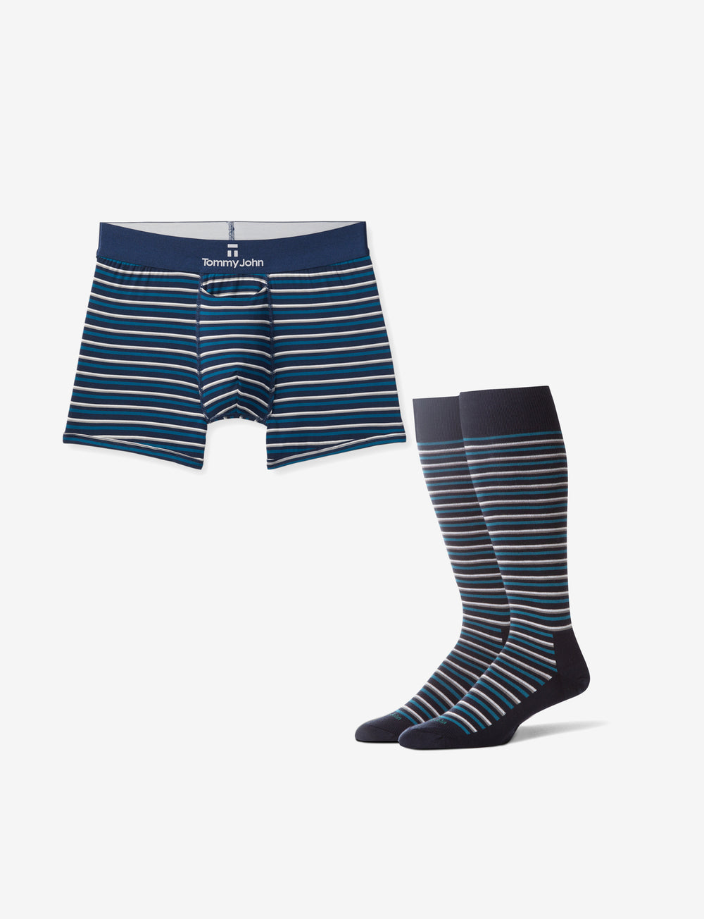 Men's Second Skin Ink Blue Slater Stripe Trunk & Sock Pack Details Image
