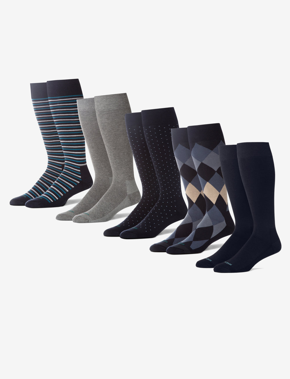 Men's Stay Up Dress Sock Blue Work Week 5 Pack Details Image