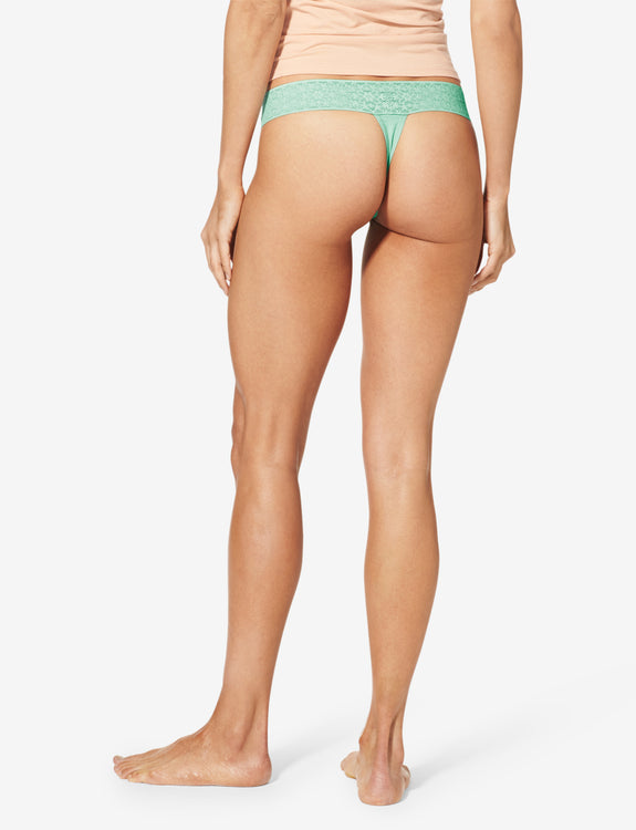 Women's Cool Cotton Thong, Lace Waist