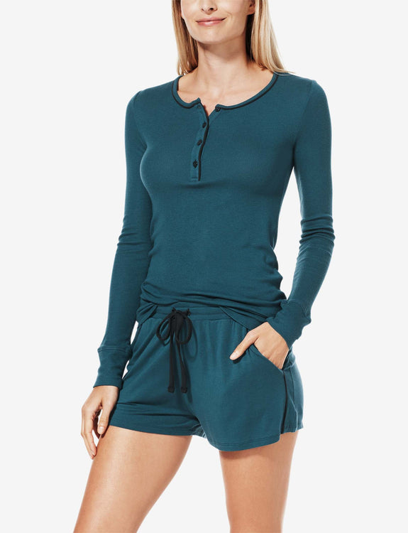Women's Lounge Henley with Piping