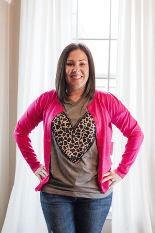 Leopard  Heart Tee and Hot Pink Cardi