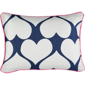 30 x 40 cushion cover with heart print and pink detail