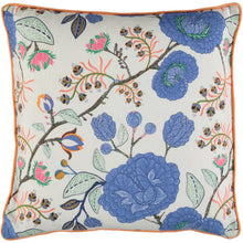 Blue and white and orange cushion with floral design