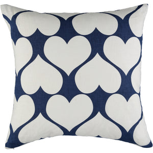 Navy and white heart cushion cover