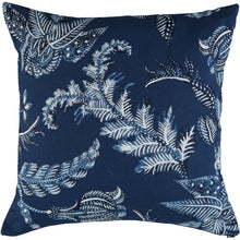 navy cushion cover with white flowers