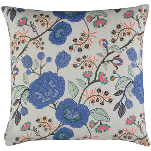 Blue, white and orange cushion. Floral cushion cover