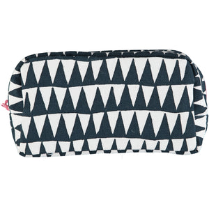 Navy Triangles  Makeup Bag