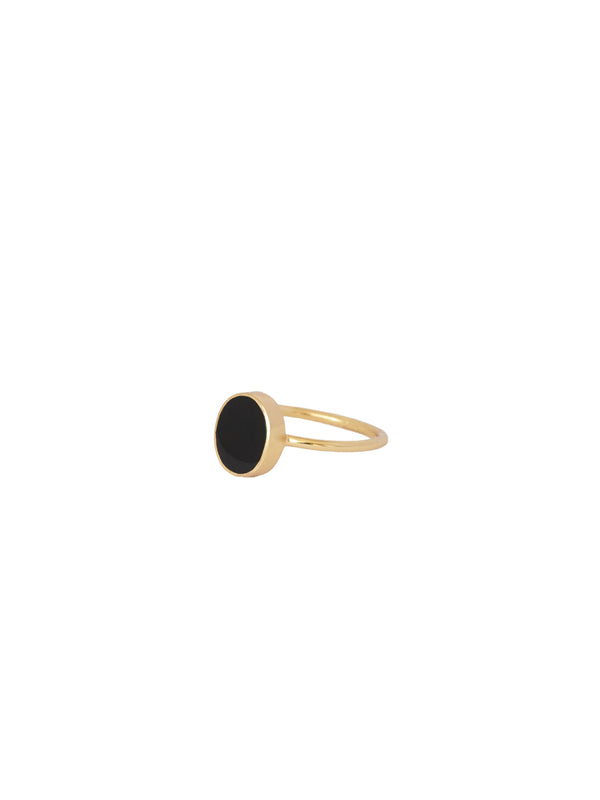 Ring «Petite Oval Resin Black», Gold