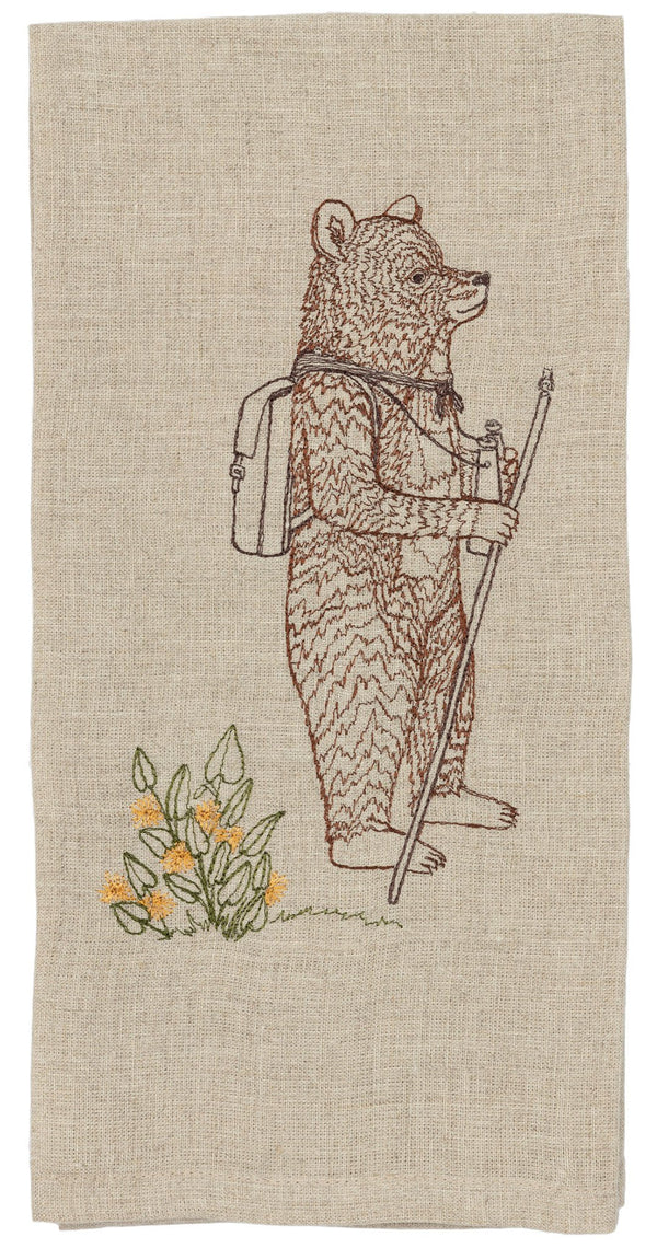 Hiker Bear Tea Towel