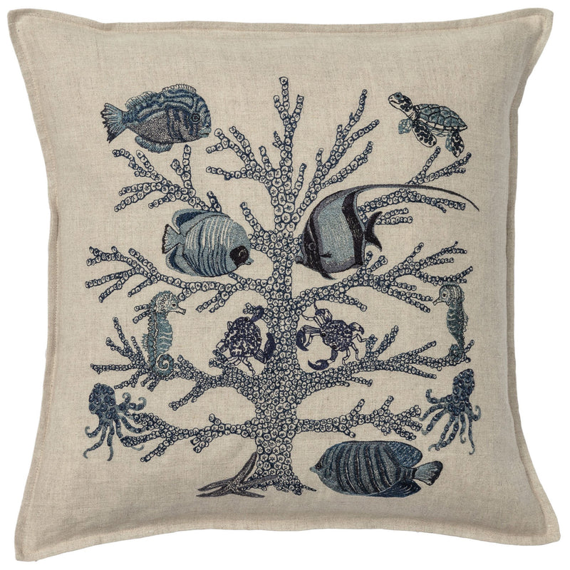 Coral Reef Navy Pillow