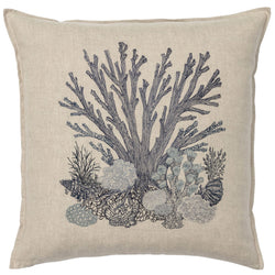 Large Coral Reef Navy Pillow